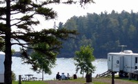 A campsite at Burlington Bay Campground, Two Harbors, Minn.